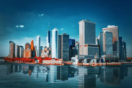 View from the water, from Hudson bay to Lower Manhattan and Staten Island Ferry terminal. New York City is Financial capital of America. USA. Фото со стока