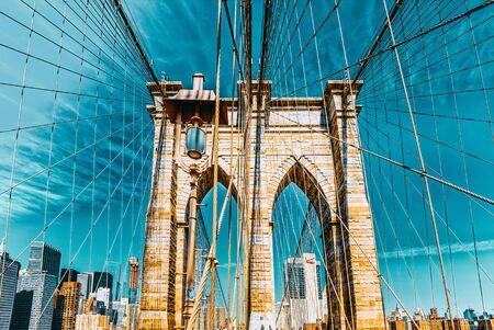 View of  Brooklyn Bridge, across the East River between Manhattan and Brooklyn. New York, USA.