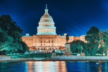 United States Capitol, Capitol Building,home of the United States Congress and Ulysses S. Grant Memorial, Capitol Reflecting Pool.