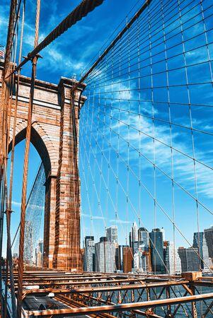 New York, USA, Lower Manhattan  from Brooklyn Bridge which across the East Rive, between Manhattan and Brooklyn.