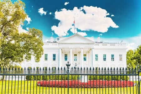The White House is on the north side and the lawn is in front of it.  Washington, DC. Washington is capital of United States. Stock Photo