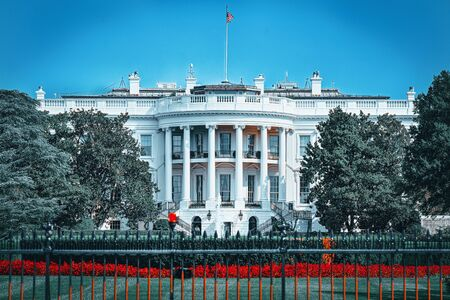 The White House  South Lawn. Near White House is Basketball Court. Washington, United States of America.