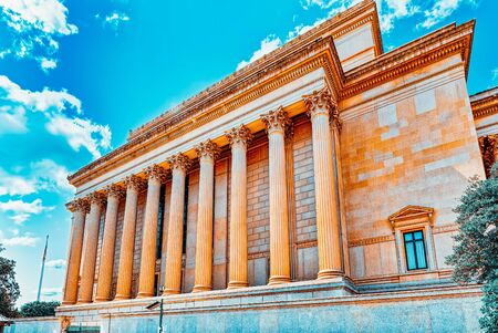 Washington, DC, USA - September 10,2017 : Urban cityscape of Washington, DC. National Archives Building. Imagens
