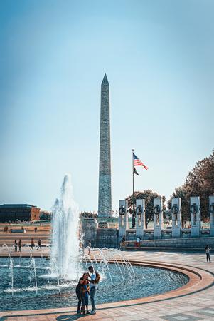 Washington, DC, USA - September 10,2017 : Washington Monument is an obelisk on the National Mall and National World War II Memorial.
