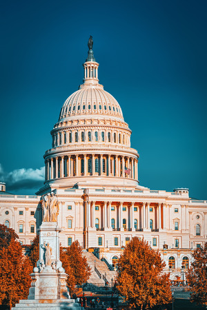 Washington, DC, USA -September 10, 2017 :Peace Monument and  United States Capitol, Capitol Building,home of the United States Congress. Editorial