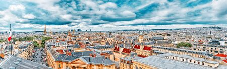 Beautiful panoramic view of Paris from the roof of the Pantheon. View of the Eiffel Tower and flag of France. Stock Photo