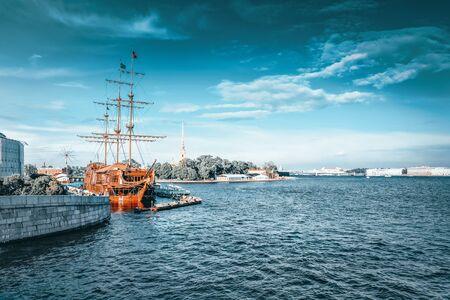 Old frigate in moorage St.Petersburg, Russia