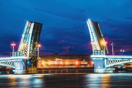 Drawbridge Annunciationbridge and Neva River.  Saint Petersburg.  Russia.