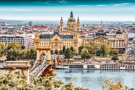 Panorama View on Budapest city from Fisherman Bastion. Hungary. Reklamní fotografie