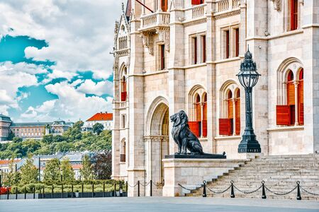 Hungarian Parliament Main Entrance. Budapest. Fragments of Building.