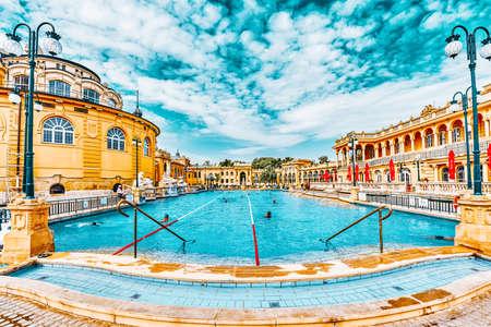 BUDAPEST, HUNGARY- MAY 05,2016: Courtyard of Szechenyi Baths, Hungarian thermal bath complex and spa treatments. Redakční