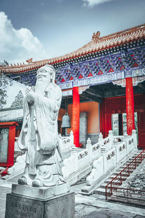 Statue of Confucius, the great Chinese philosopher in Temple of Confucius at Beijing.China. Editorial