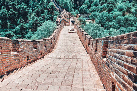"""Stone staircase of Great Wall of China, section """"Mitianyu"""". Suburbs of Beijing."""