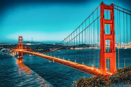 Panorama of the Gold Gate Bridge and San Francisco city at night, California, USA. Foto de archivo