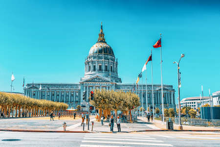 San Francisco, California, USA - September 11, 2018: San Francisco City Hall is the seat of government for the City and County of San Francisco.