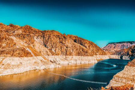 Famous and amazing Hoover Dam at Lake Mead, Nevada and Arizona Border, USA.