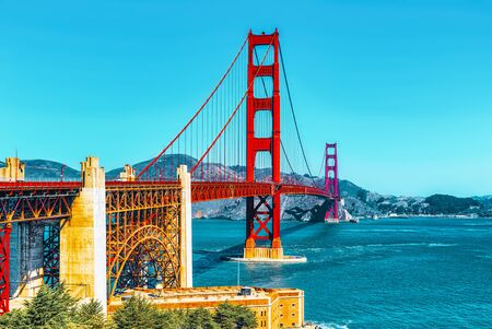 Panorama of the Gold Gate Bridge and the other side of the bay. San Francisco, California, USA. 免版税图像
