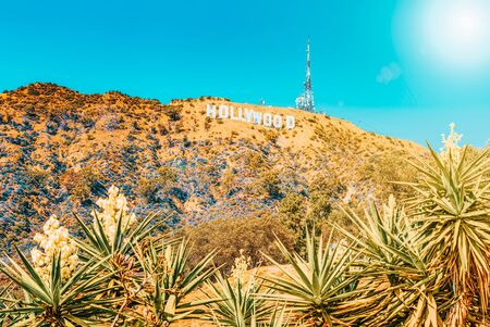 Los Angelos, California, USA - September 05, 2018: Inscription Hollywood on the Hollywood Hills in Los Angeles. Stock fotó