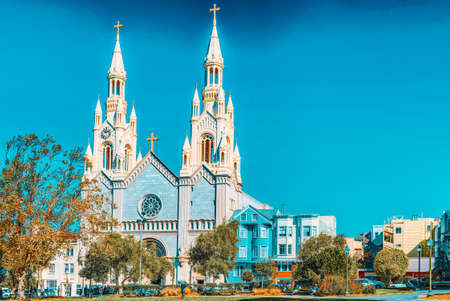 San Francisco, California, USA - September 11, 2018: Saints Peter and Paul Church in San Francisco. Editorial
