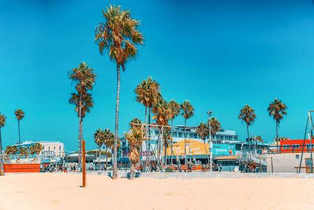 Los Angelos, California, USA - September 23, 2018: Famous Los Angeles Beach - Venice Beach with people. Sajtókép