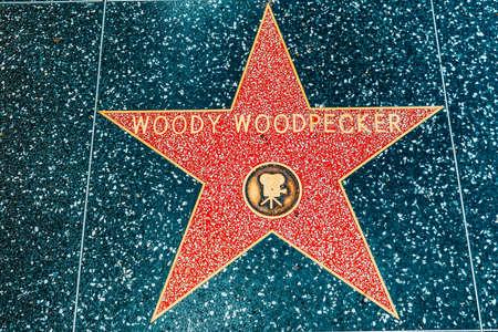 Los Angelos, California, USA - September 05, 2018: Hollywood Walk of Fame in Hollywood Boulevard. Woody Woodpecker. Editorial