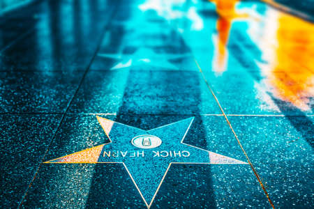 Los Angelos, California, USA - September 05, 2018: Hollywood Walk of Fame in Hollywood Boulevard. Editorial