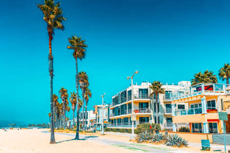 Los Angelos, California, USA - Famous Los Angeles Beach - Venice Beach with people.