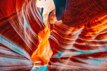 Antelope Canyon is a slot canyon in the American Southwest. It is on Navajo land east of Page, Arizona. USA. Stock fotó