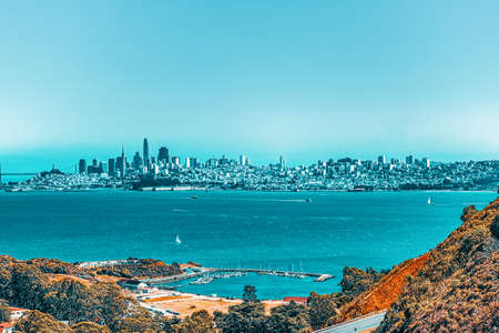 Panoramic view of the San Francisco city from the Golden Gates Bridge.