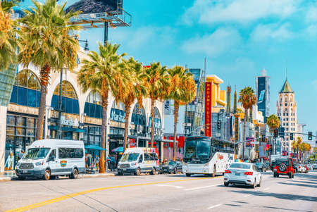 Los Angelos, California, USA - September 04, 2018: Famous Hollywood Boulevard and the Avenue of Stars in Hollywood.