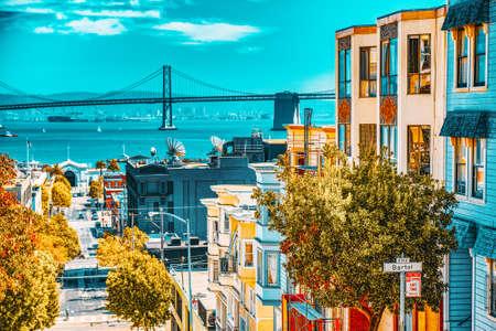 San Francisco, California, USA - September 09, 2018: City views a seaport in western California,on a peninsula between the Pacific Ocean and San Francisco Bay.