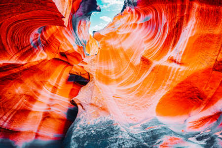 Antelope Canyon is a slot canyon in the American Southwest. It is on Navajo land east of Page, Arizona. USA.