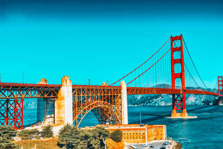 Panorama of the Gold Gate Bridge and the other side of the bay. San Francisco, California, USA.