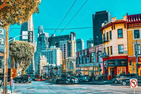 San Francisco, California, USA - September 08, 2018: City views a seaport in western California,on a peninsula between the Pacific Ocean and San Francisco Bay.