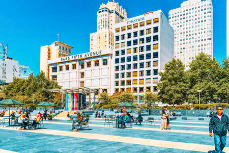 San Francisco, California, USA - September 11, 2018: View of the city center, downtown of San Francisco-seaport in western California.