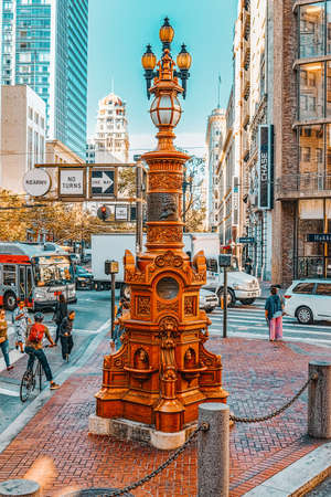 San Francisco, California, USA - September 10, 2018: View of the city center, downtown of San Francisco-seaport in western California.