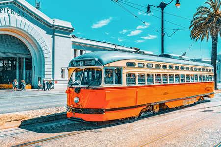 San Francisco, California, USA - September 09, 2018: Famous city trams in San Francisco.