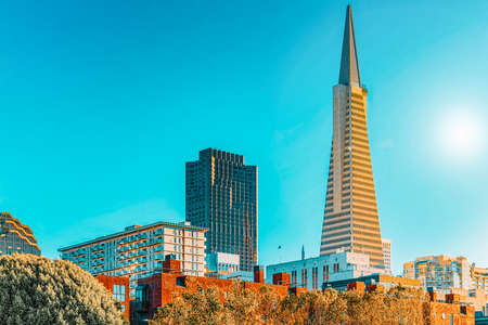 San Francisco, California, USA - September 09, 2018: View of the city center,tower skyscraper TransAmerica Pyramid, downtown of San Francisco.