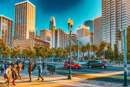 San Francisco, California, USA - September 08, 2018: View of downtown from the Embarcadero street,  San Francisco. Editorial