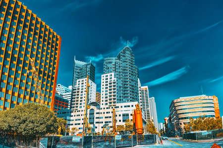 San Francisco, California, USA - September 09, 2018: View of downtown from the Embarcadero street,  San Francisco.