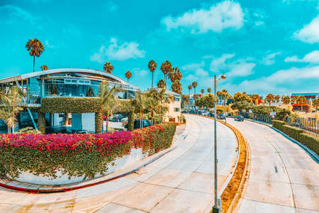 Santa Monica, California, USA- September 07, 2018: City views, Santa Monica streets - a suburb of Los Angeles.