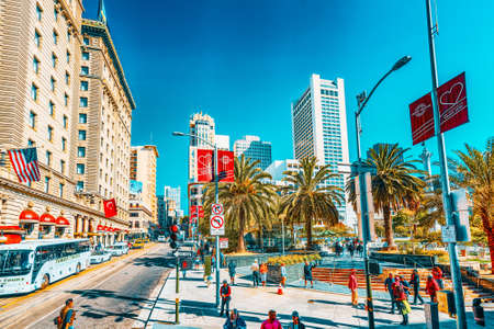 San Francisco, California, USA - September 10, 2018: View of the city center, Union Square - downtown of San Francisco. Editorial