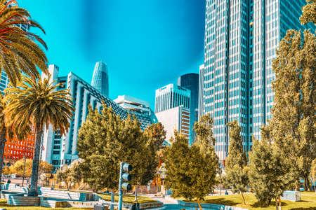 San Francisco, California, USA - September 10, 2018: View of downtown from the Embarcadero street,  San Francisco.