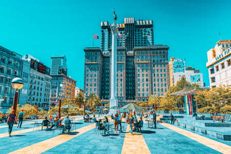 San Francisco, California, USA - September 11, 2018: View of the city center, Union Square - downtown of San Francisco.
