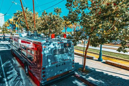 San Francisco, California, USA - September 10, 2018: Famous city trolley buses in San Francisco.
