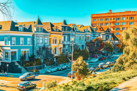 San Francisco, California, USA - September 10, 2018: City views a seaport in western California,on a peninsula between the Pacific Ocean and San Francisco Bay. Editorial