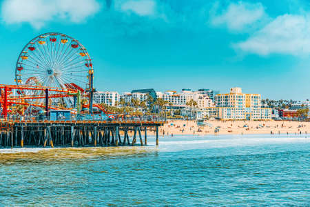 Santa Monica, California, USA - September 07, 2018: Amusement park-Pacific Park on Santa Monica Pier. LA.