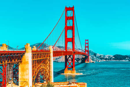 Panorama of the Gold Gate Bridge and the other side of the bay. San Francisco, California, USA. Sajtókép