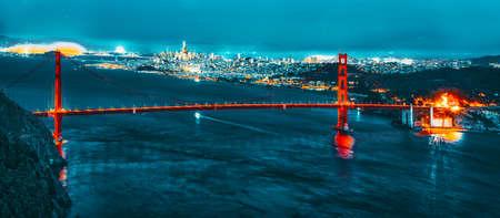 Panorama of the Gold Gate Bridge and San Francisco city at night, California, USA.