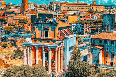 View of the Roman Forum from the Hill of Palatine - a general overview of the entire Roman Forum atop. Temple of Antoninus and Faustina (Tempio di Antonino e Faustina).